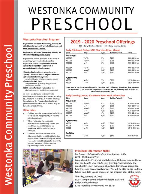 2019-2020 Preschool Offerings