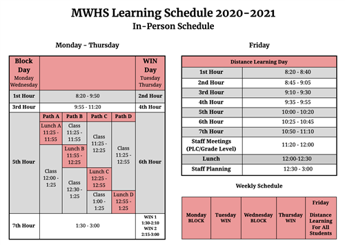 In-Person Learning Schedule