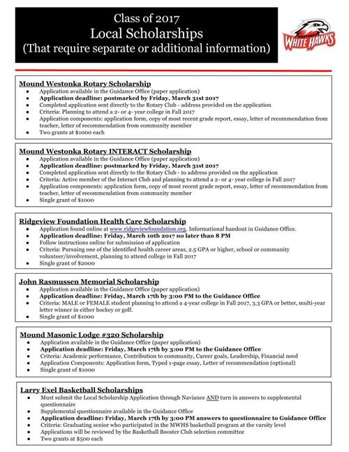 Guidance Scholarships – Scholarship Application Form