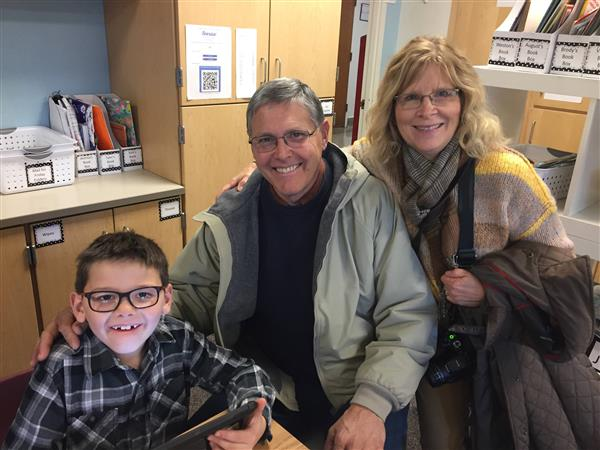 Shirley Hills student with grandparents